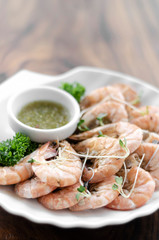 fresh boiled prawns with zesty citrus dipping sauce