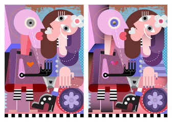 People in love modern art graphic illustration. Loving couple standing facing each other. Two options of artwork - flat design / with gradient.