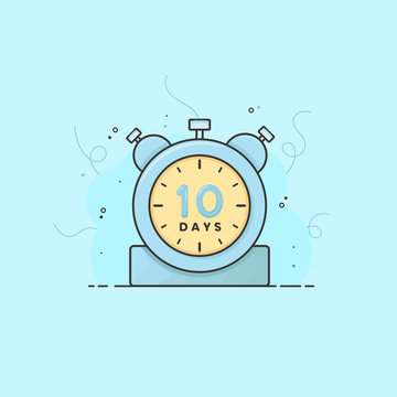10 days announcement clock, timer vector time symbol. 10 days vector icon flat illustration.