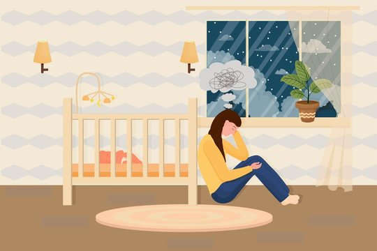 Postpartum depression concept in flat style. Tired, sad mother, woman sitting on floor near bad with sleeping baby. Psychology problem, parent difficulty. Vector illustration