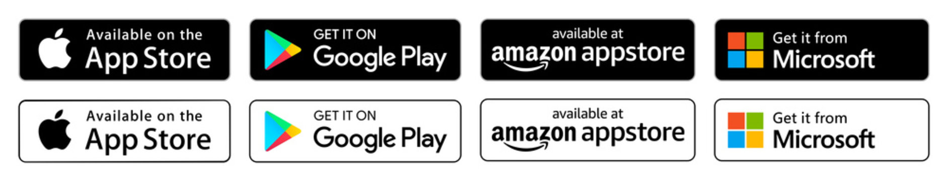 Apple App store, Google Play store, Microsoft store, amazon Store: download App buttons. Isolated black and white icons set on white background.