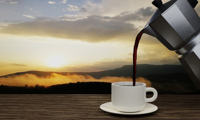 Black coffee in a white mug and Moka coffee pot. The wood surface or tree bark has a background in the pine trees and mountain ranges in the morning. The sun is rising. 3D Rendering