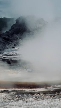 Abstract Dark Blue, Orange, and Gray Real-Life Natural Spring with Fog
