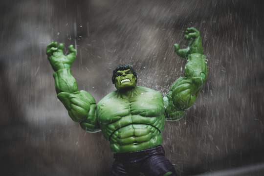 NEW YORK USA, AUGUST 21 2020: The Hulk in rage from the Marvel Comics and The Avengers - Hasbro action figure
