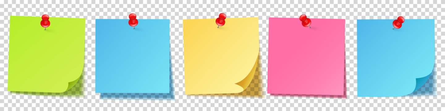 Realistic blank sticky notes isolated on white background. Colorful sheets of note papers with push pin. Paper reminder. Vector illustration.