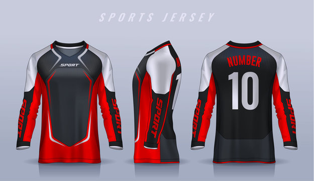 t-shirt sport design template, Long sleeve soccer jersey mockup for football club. uniform front and back view,Motocross jersey.