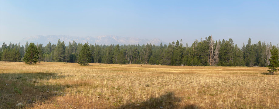 Smokey Skies Over Washoe Meadows with Echo Summit Peaks Shrouded by Smoke in the Lake Tahoe Basin