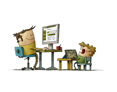 illustration of a father who is teleworking with his son, the adult is with a computer and the son with a tablet. isolated