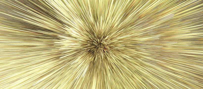 Digital Illustration. Gold Color blot splash. Abstract long horizontal background..