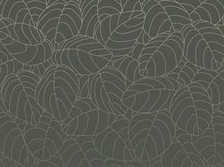 Outline pattern with gold leaves on charcoal green background Wall mural