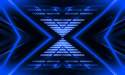 Blue neon background. Abstract blue dark background with lines and rays. Light tunnel. Symmetrical reflection. Fotobehang