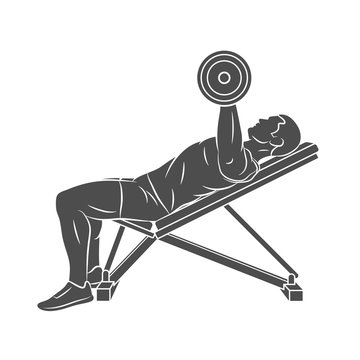 Silhouette man training chest with dumbbells on bench press on a white background. Body Building. Vector illustration