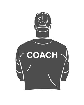 Silhouette sports coach stands with his back in a T-shirt and baseball cap. Background for sports or coaching theme on a white background. Vector illustration