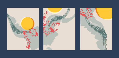 Abstract creative minimalist hand painted illustration for wall decoration, postcard or brochure design. Vector EPS10.