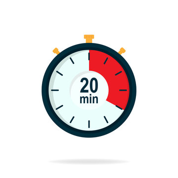 20 minutes timer. Stopwatch symbol in flat style. Editable isolated vector illustration.