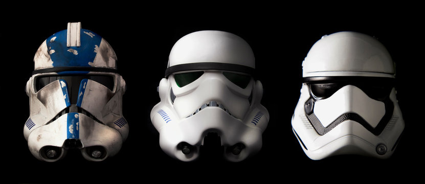 NEW YORK USA, AUGUST 21 2020: evolution of stormtrooper helmets - clone Phase II, Stormtrooper, and First Order Stormtrooper