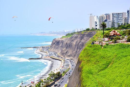 Paragliding by Coastline in Lima, Peru