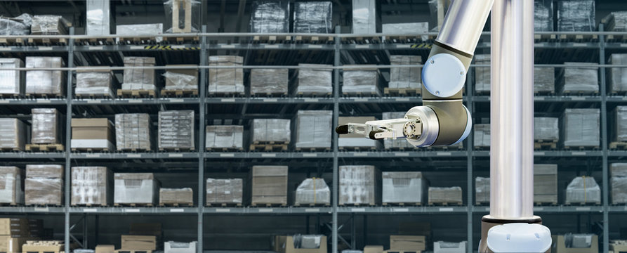 Robot arm works in an automatic warehouse