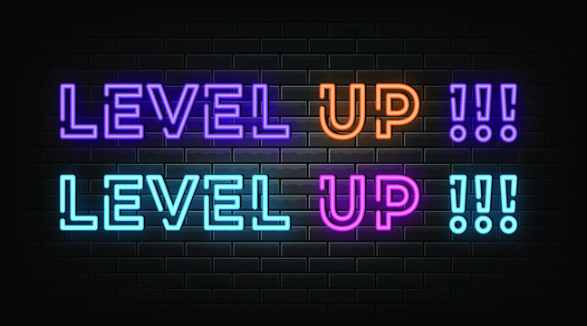 Level up neon signs vector. Design template neon sign