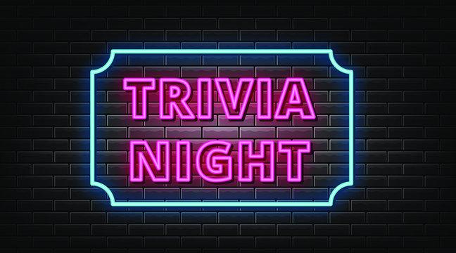 Trivia night neon signs vector. Design template neon sign