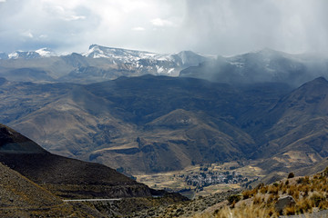 View of Chivay and Colca Valley, with the Andes in the Background. Highlands of Peru.