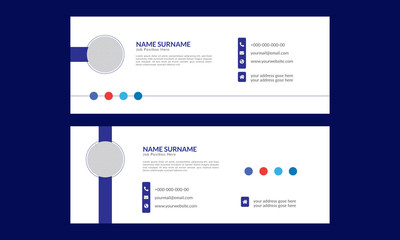 Corporate official email signature design template. Set of blue color email signature