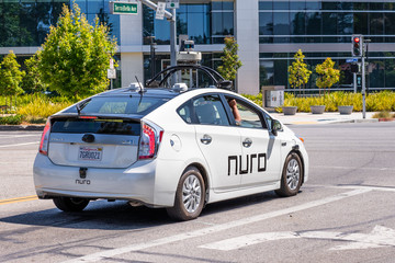 August 3, 2020 Mountain View / CA / USA - Nuro autonomous vehicle performing tests in Silicon Valley; Nuro is a robotics company founded by two ex Waymo (Google self driving car project) engineers