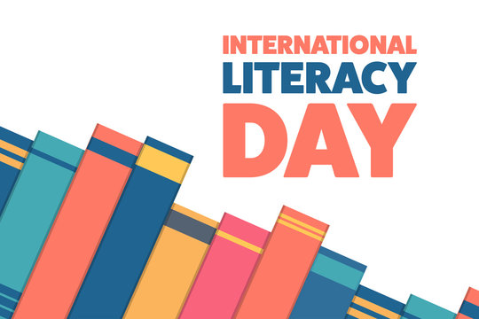 International Literacy Day. Holiday concept. Template for background, banner, card, poster with text inscription. Vector EPS10 illustration.