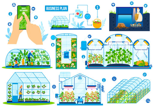 Greenhouse agriculture technology vector illustration set. Cartoon flat modern tunnel farm greenhouses with farmer workers and robot equipment, agritech smart control farming system isolated on white