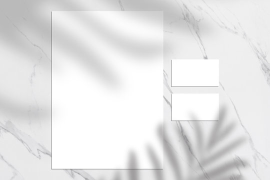White empty business card and letterhead mock up, Shadow overlay, stationery mockup, add your design + multiply effect