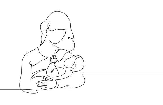Mother and baby line. Mom hugs child. Motherhood and newborn concept. Happy woman holds toddler continuous one line vector illustration. Parent loving kid, happy mother day design for card