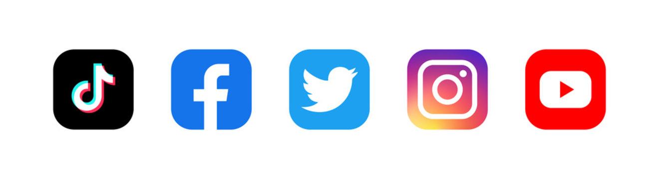 Set of facebook twitter instagram and youtube icons. Social media icons. Realistic set. illustration. Editorial illustration. Vinnitsa, Ukraine - August 22, 2020