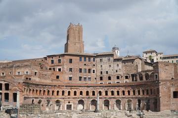 A panoramic view on Trajan's Market (Mercati Traianei) on the Via dei Fori Imperiali in Rome, Italy
