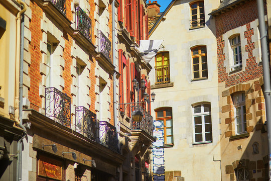 street in medieval town of Rennes, one of the most popular tourist attractions in Brittany, France
