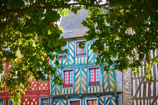 Beautiful half-timbered buildings in medieval town of Rennes, France