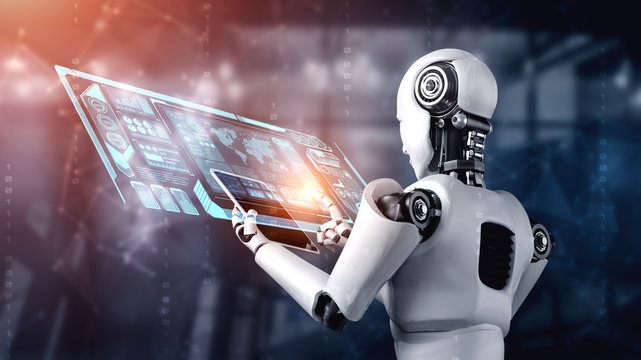 Robot humanoid using tablet computer for big data analytic using AI thinking brain , artificial intelligence and machine learning process for the 4th fourth industrial revolution . 3D rendering.