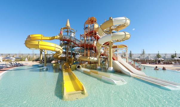Aktau, Kazakhstan, Rixos hotel -17 August 2020: summer resort water slides attractions