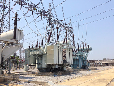 High voltage power transformer in switchyard and electrical power substation