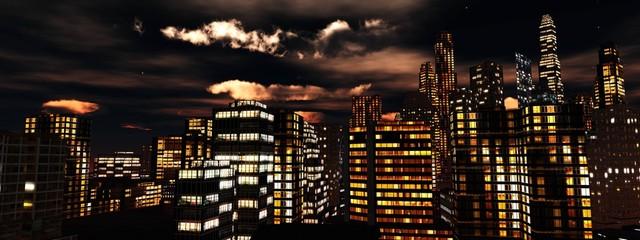 Wall Mural - Night city, skyscrapers at night, 3D rendering