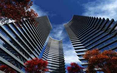 Wall Mural - Skyscrapers and autumn, high-rise buildings and autumn trees, 3D rendering