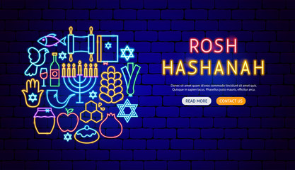 Rosh Hashanah Neon Banner Design