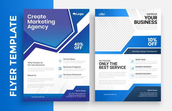 Corporate Business Flyer poster pamphlet brochure cover design layout background, vector template in A4 size - Vector