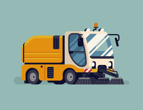 Urban sweeper truck. City cleaning sanitation service vehicle quality vector illustration. Modern mechanical street sweeper machine, isolated