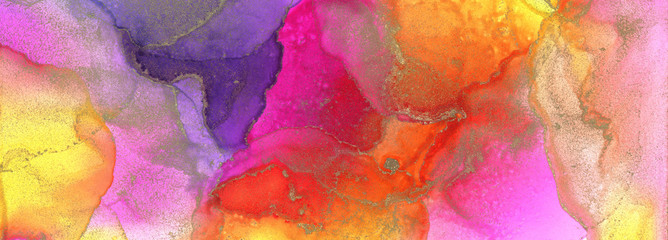 Art Abstract painting blots background. Alcohol ink olors. Marble texture. Horizontal long banner.