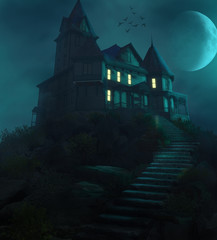Halloween Haunted Manor on a Hill Against the Moon