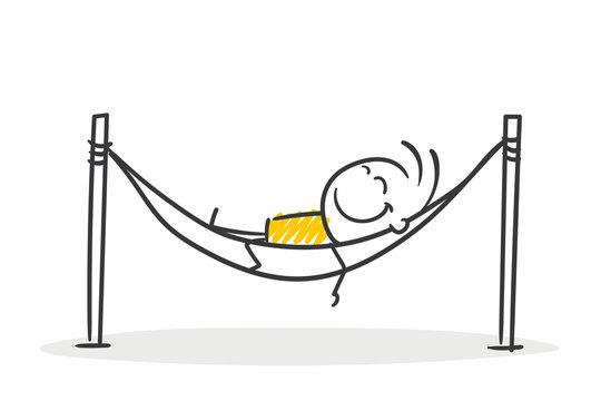 Strichfiguren / Strichmännchen: Pause, Hängematte, ausruhen. (Nr. 521)