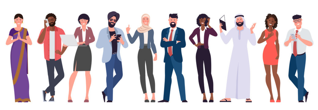 Flat design vector set of multicultural, black, caucasian, arab, muslim and indian people characters are acting and communicaing. Trendy modern style vector illustration in flat cartoon style.