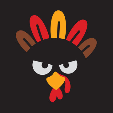 Turkey face vector. Thanksgiving turkey with angry face vector illustration.