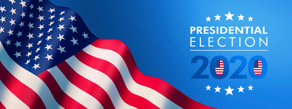 Waving American Flag -2020 Presidential Election - 3D illustration with clipping path