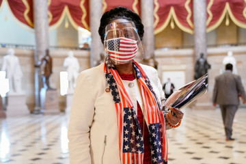 Representative Sheila Jackson Lee (D-TX) poses for a portrait in an American flag-themed outfit in Washington
